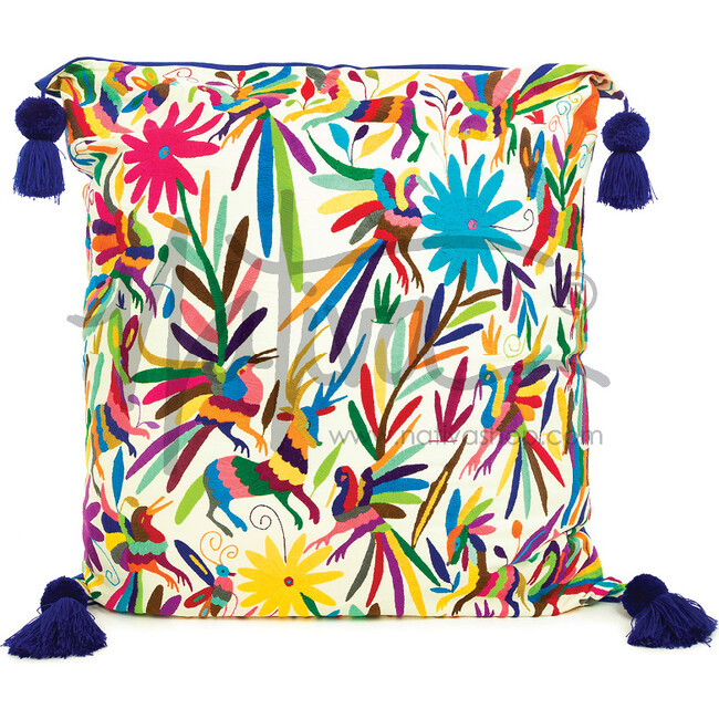 Otomi Embroidered Oversized Pillow, Multi
