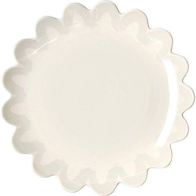Arabesque Trim Scallop Edge Plate, Ecru
