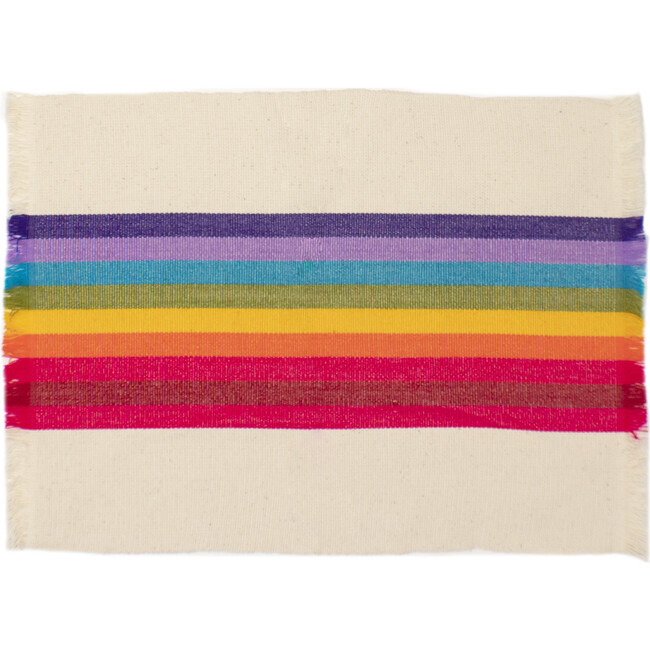 Striped Woven Placemats, Rainbow