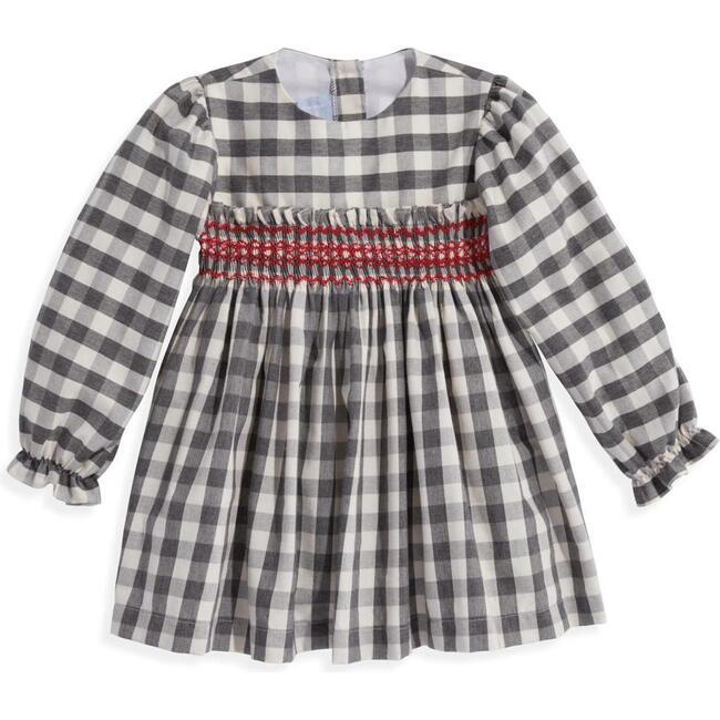 Smocked Dress, Grey Check