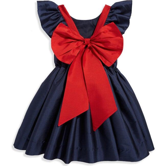 Edenham Dress, Navy with Red Bow