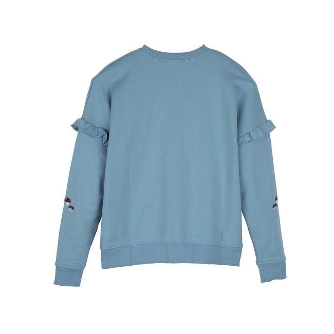 Women's Desiree Sweatshirt, Delphinium Blue Mushrooms