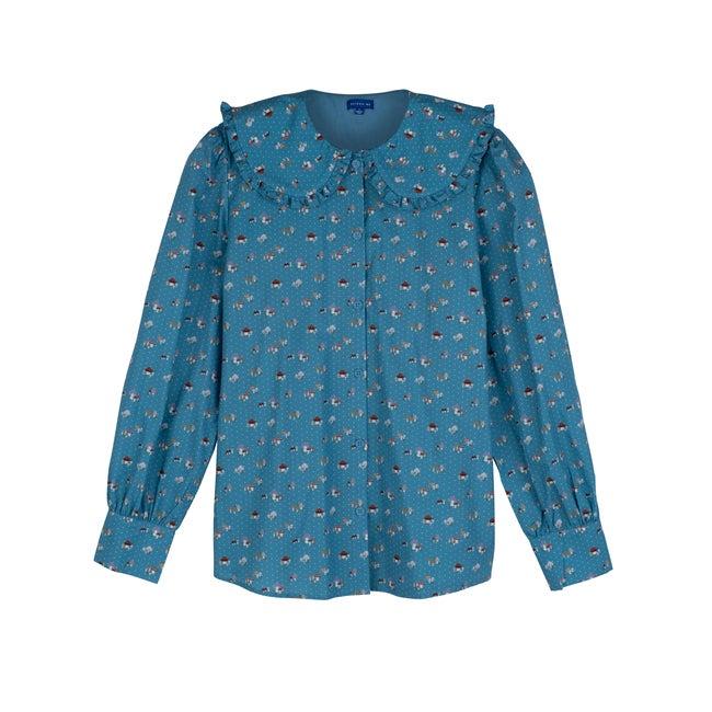 Women's Isobel Top, Delphinium Blue Mushrooms
