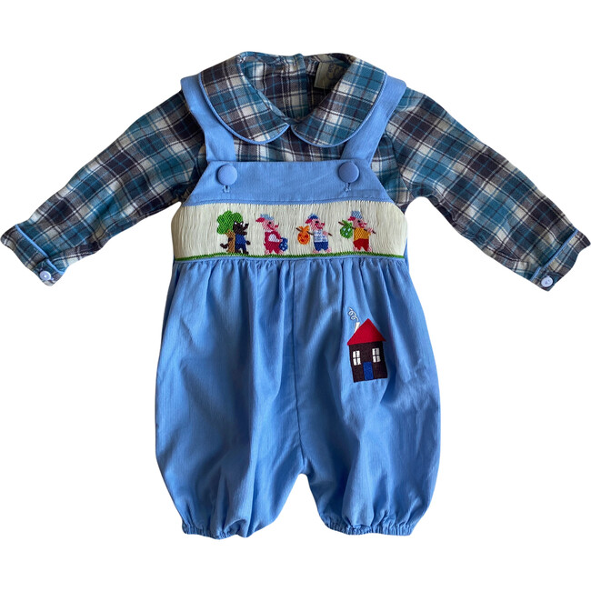 Little Pigs Dungarees, Blue