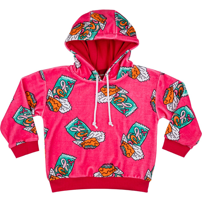 Velour Hoodie, Candy Bar Hot Pink