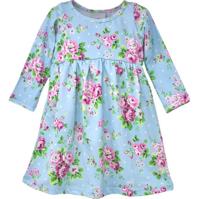 UPF 50+ Lumi Long Sleeve Tee Dress, Blue Country Floral
