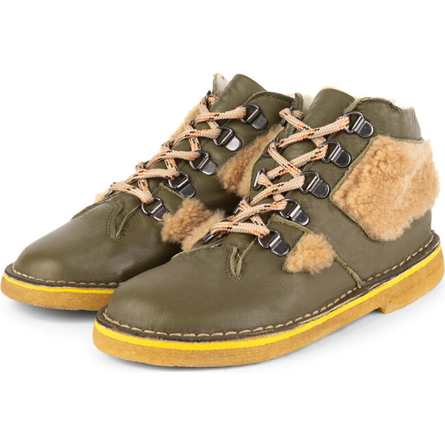 Olive Fuzzy Boots, Olive
