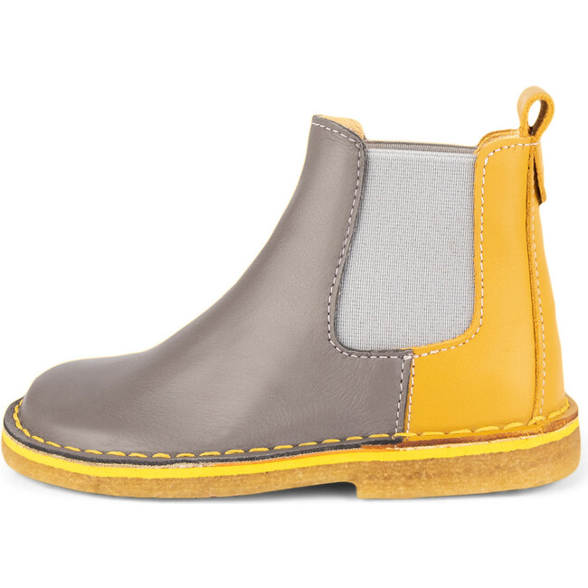 Grey.Mustard Chelsea Boots, Multi-color