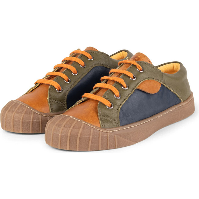 Camel.Olive Retro Sneakers, Multi-color