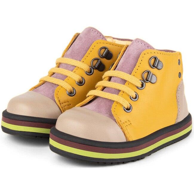 Beige.Mustard Vintage Booties, Multi-color