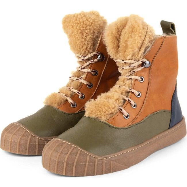 Olive.Camel Hi-Top Sneakers, Multi-color