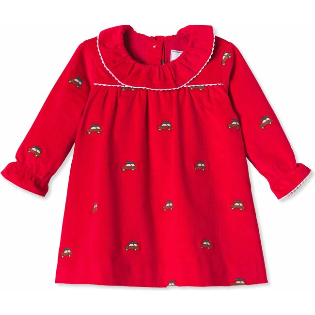 Elsa Dress, Crimson With Woody Embroidery