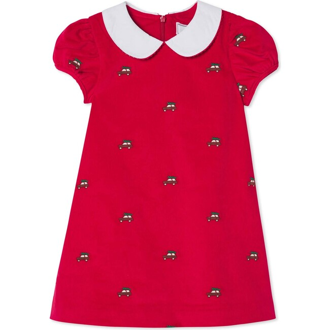 Paige Dress, Crimson With Woody Embroidery