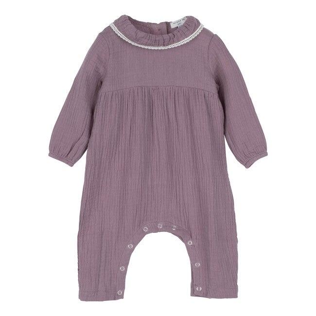 Baby Nia Ruffle Neck Coverall, Dusty Purple