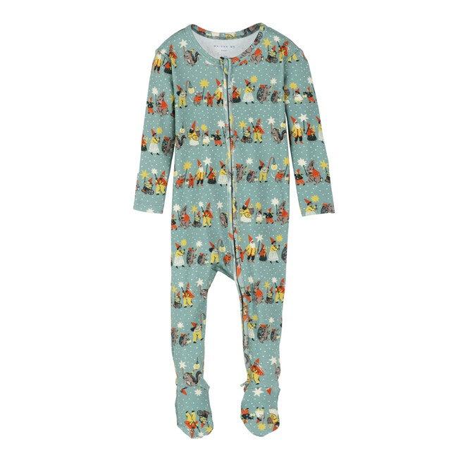 Baby Sawyer Zip Footie Pajama, Winter Mushroom Village