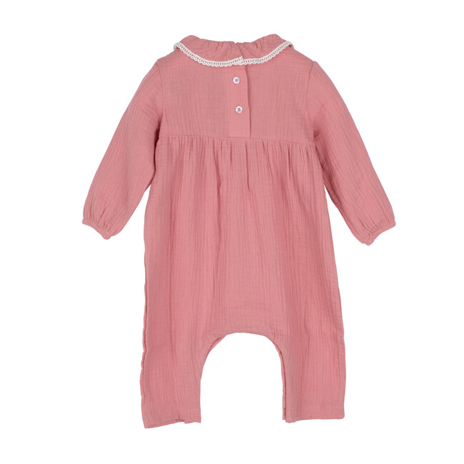 Baby Nia Ruffle Neck Coverall, Dusty Pink