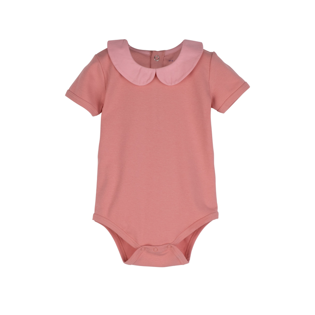 Baby Remy Short Sleeve Collar Bodysuit, Pink with Light Pink Collar