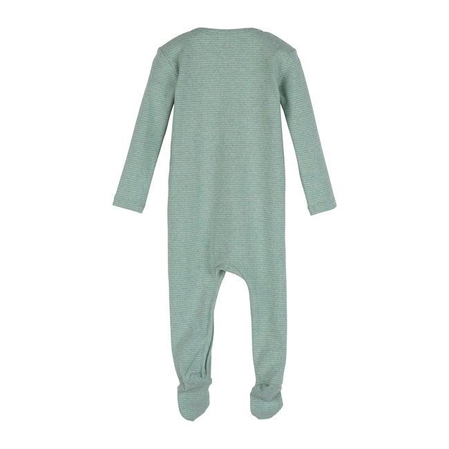 Baby Sawyer Zip Footie Pajama, Sage Stripe