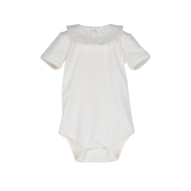 Baby Remy Short Sleeve Collar Bodysuit, White with White Collar - Onesies - 1