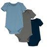Baby Perry Short Sleeve Bodysuit Trio, Blue & Green Multi - Onesies - 1 - thumbnail
