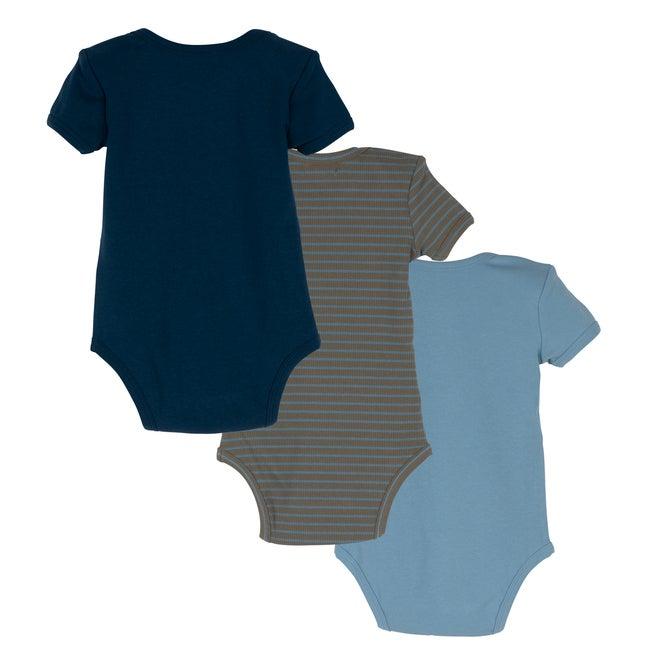 Baby Perry Short Sleeve Bodysuit Trio, Blue & Green Multi