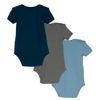 Baby Perry Short Sleeve Bodysuit Trio, Blue & Green Multi - Onesies - 2