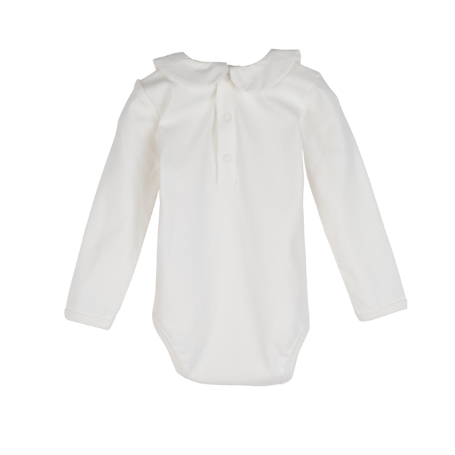 Baby Remy Long Sleeve Collar Bodysuit, White with White Collar