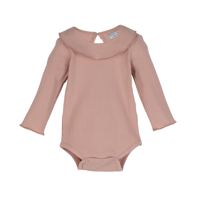 Baby Elsie Ruffle Neck Bodysuit, Pink