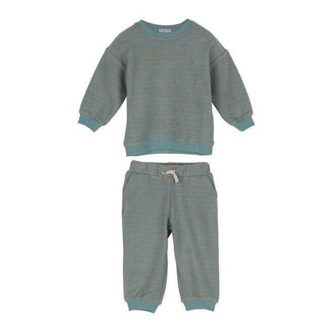 Baby Fuzzy Jones Sweat Set, Dusty Blue & Tan Stripe - Mixed Apparel Set - 1