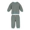 Baby Fuzzy Jones Sweat Set, Dusty Blue & Tan Stripe - Mixed Apparel Set - 1 - thumbnail