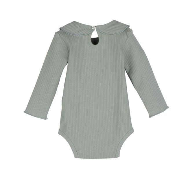 Baby Elsie Ruffle Neck Bodysuit, Pale Blue
