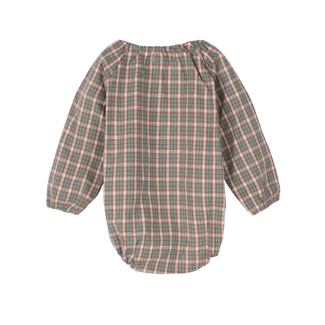 Baby Leila Long Sleeve Bubble, Green & Red Check