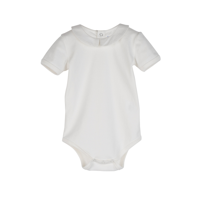 Baby Syd Short Sleeve Pointed Collar Bodysuit, White with White Collar