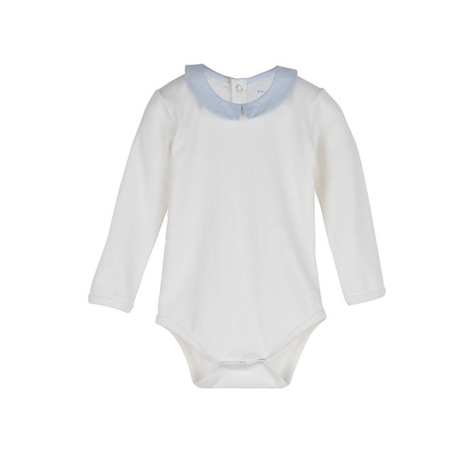 Baby Syd Long Sleeve Pointed Collar Bodysuit, White with Blue Collar