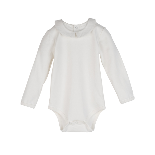 Baby Syd Long Sleeve Pointed Collar Bodysuit, White with White Collar