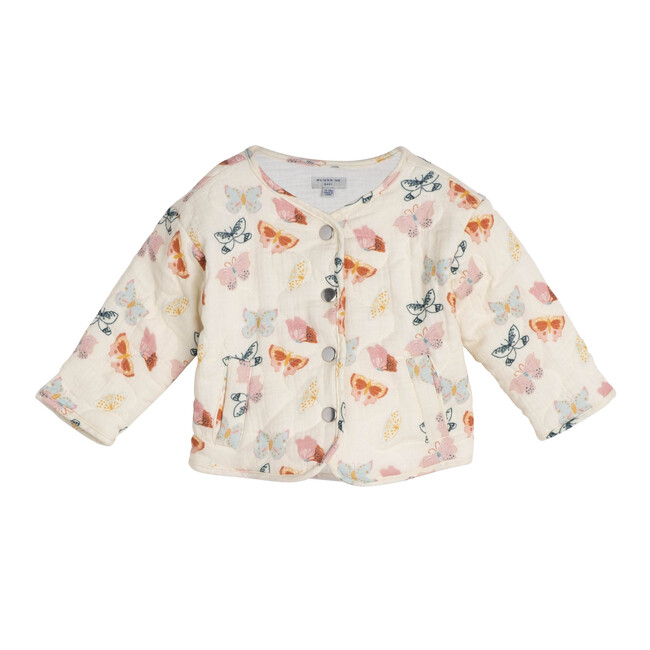 Baby Esme Quilted Jacket, Cream Butterflies