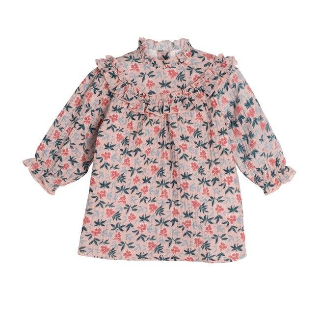 Cleo Baby Dress, Pink Pansies