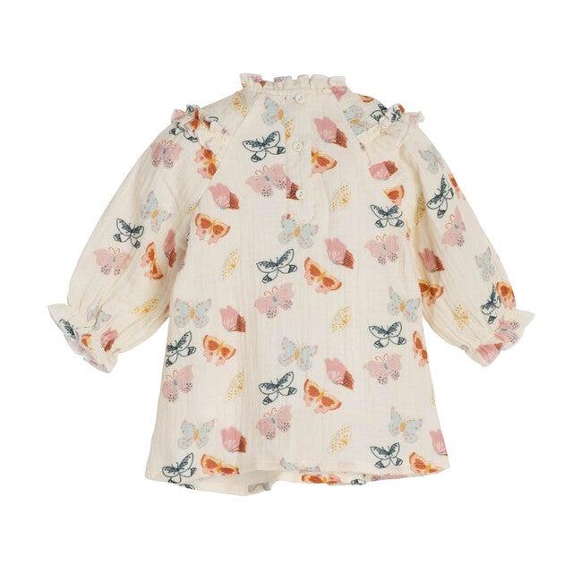 Cleo Baby Dress, Cream Butterflies