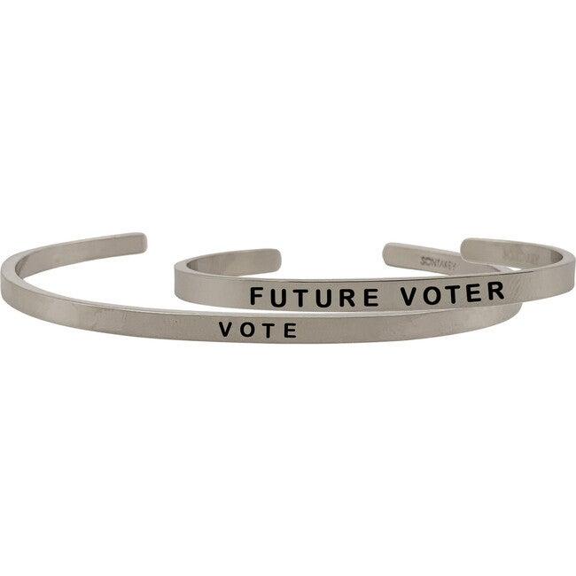 *Exclusive* Mommy & Me Vote Bracelet Set, Silver