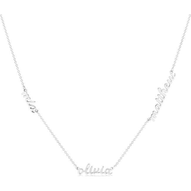 Sterling Silver Nameplate Necklace, 3 Names