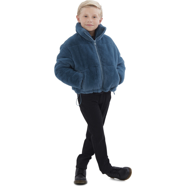 Billie Kids Faux Fur Jacket, Stone Blue