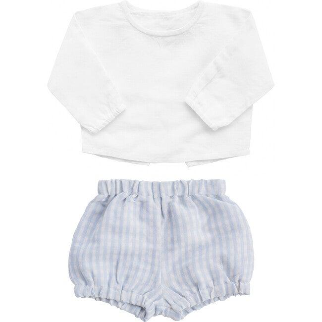 Linen Double Button Shirt & Shorts Gift Set, Pale Blue Gingham