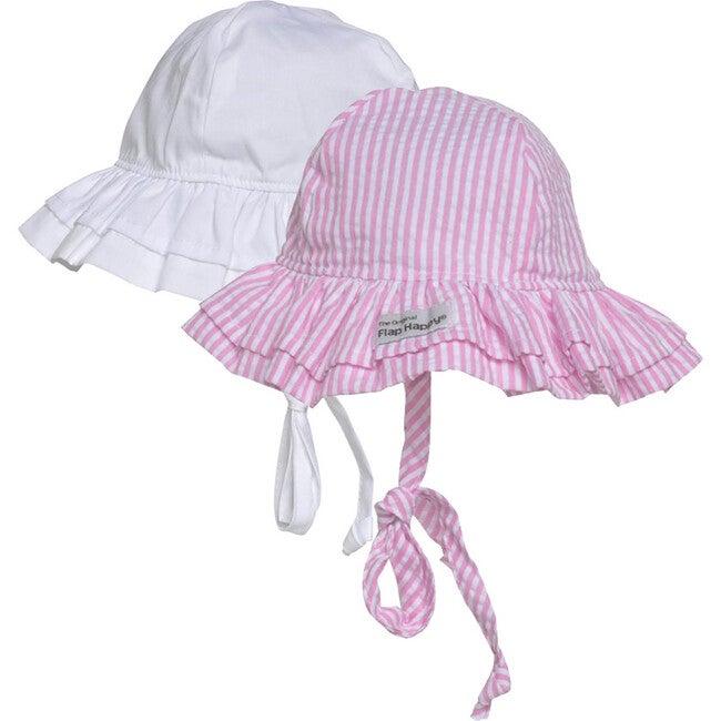 Double Ruffle Hat 2Pack, White & Pink Stripe Seersucker