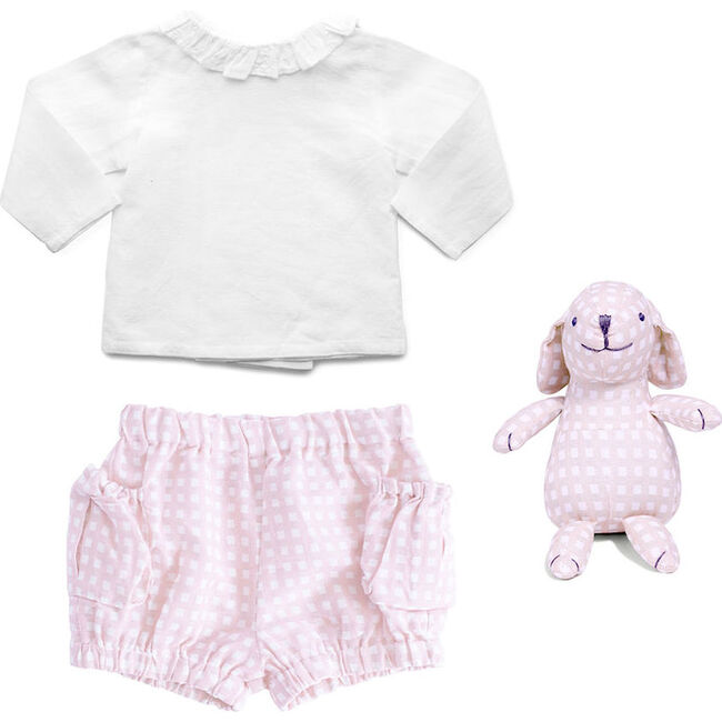 Outfit and Bunny Dusty Pink Gingham