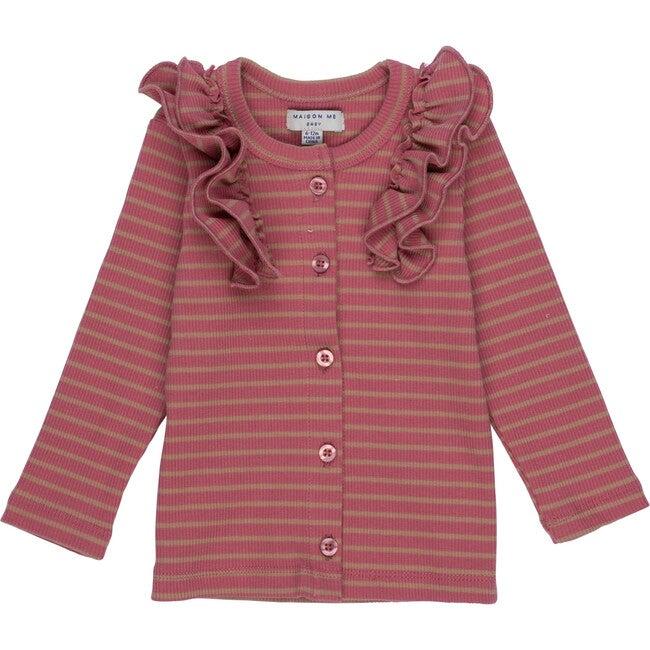 Baby Priya Cardigan, Pink & Tan Stripe