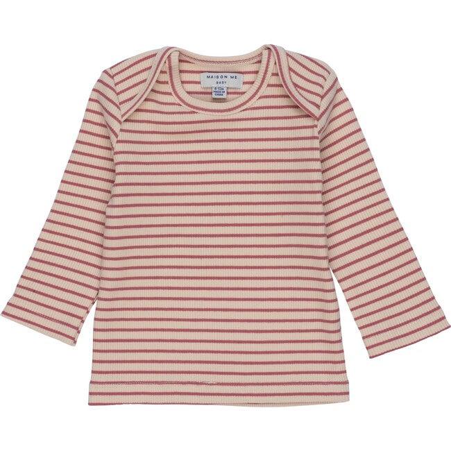 Baby Andie Long Sleeve Tee, Pink & Natural Stripe