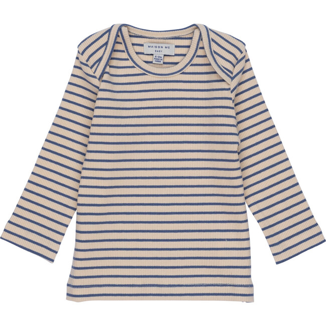 Baby Andie Long Sleeve Tee, Blue & Natural Stripe