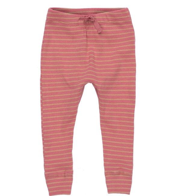 Baby Ricki Pant, Pink & Tan Stripe - Leggings - 1