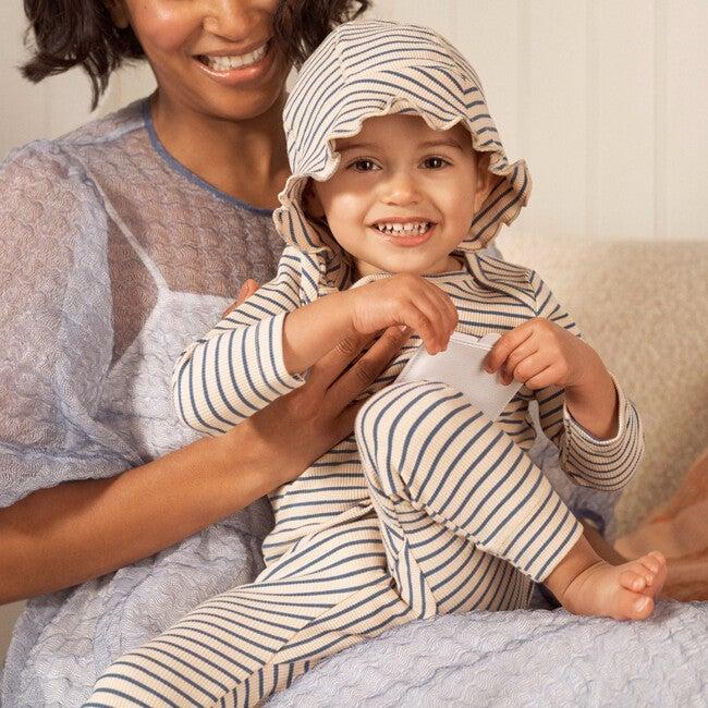 Baby Novi Hat, Blue & Natural Stripe