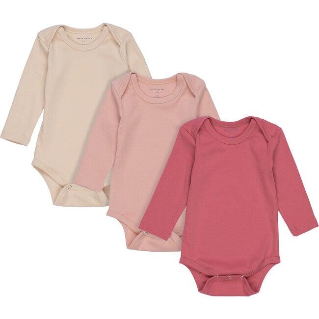 Baby Reagan Long Sleeve Bodysuit Trio, Pink Multi